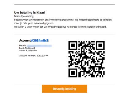 Pas op voor deze 'Bitcoin' phishingmail!