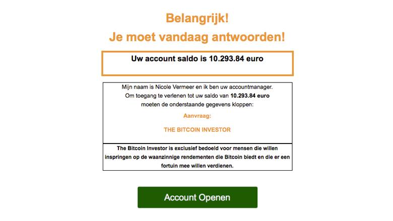 Pas op voor valse e-mails van 'The Bitcoin Investor'