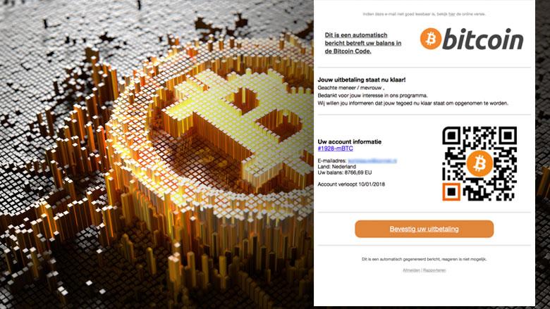 E-mail over uitbetaling in bitcoins blijft in omloop