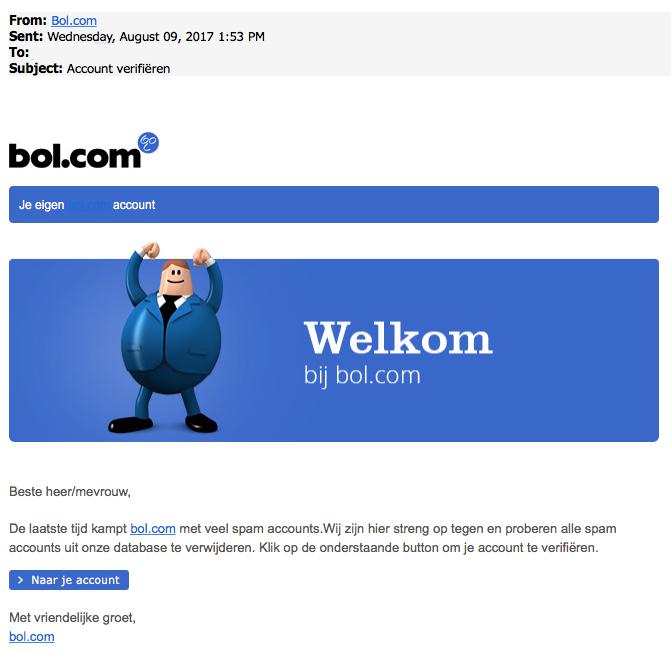 Pas op voor phishingmail 'bol.com'