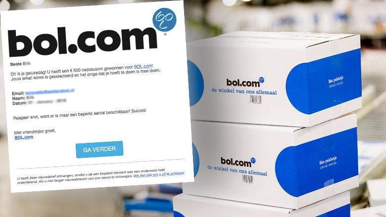 Valse winactie 'Bol.com': cadeaubon ter waarde van €500,-