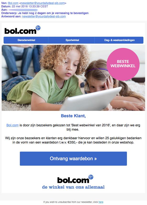 E-mail over waardebon van 'Bol.com' is nep