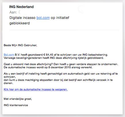 Valse mail 'ING' over mislukte betaling Bol.com