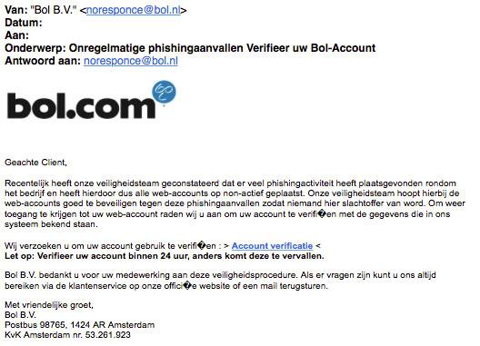 Phishingsite lijkt sprekend op echte site Bol.com