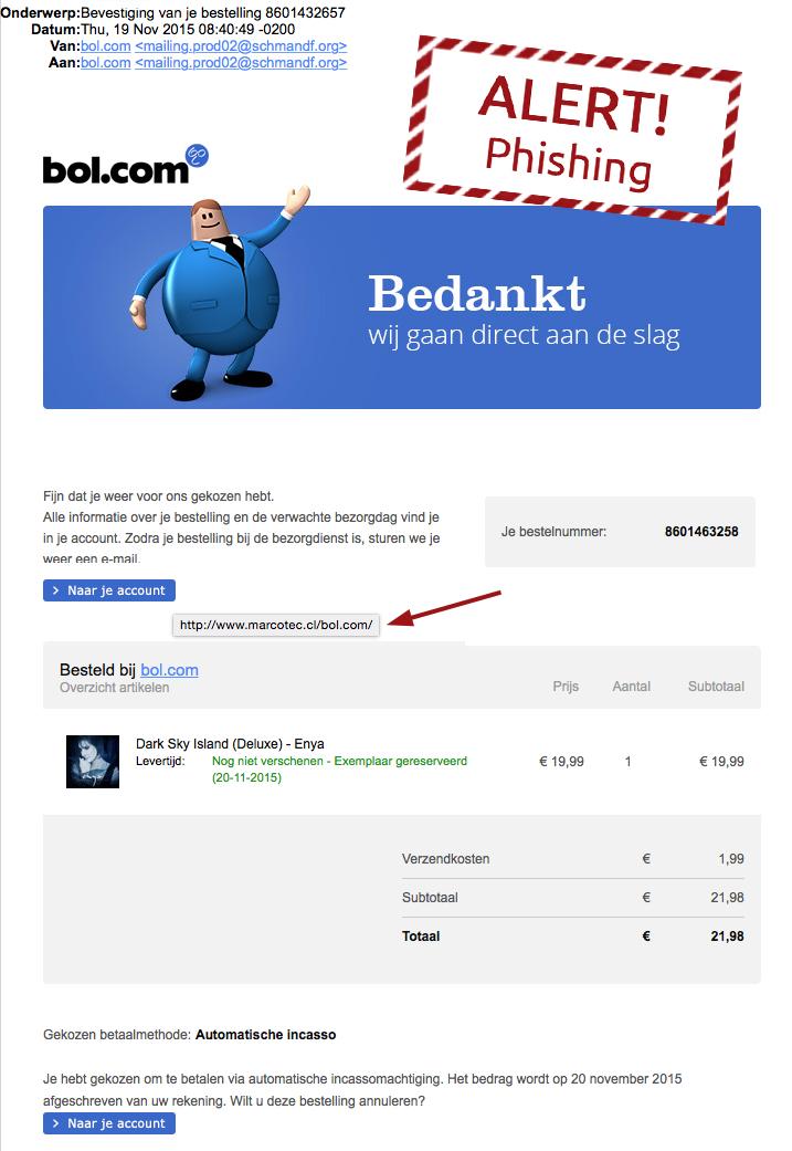 Pas op voor valse mail Bol.com!