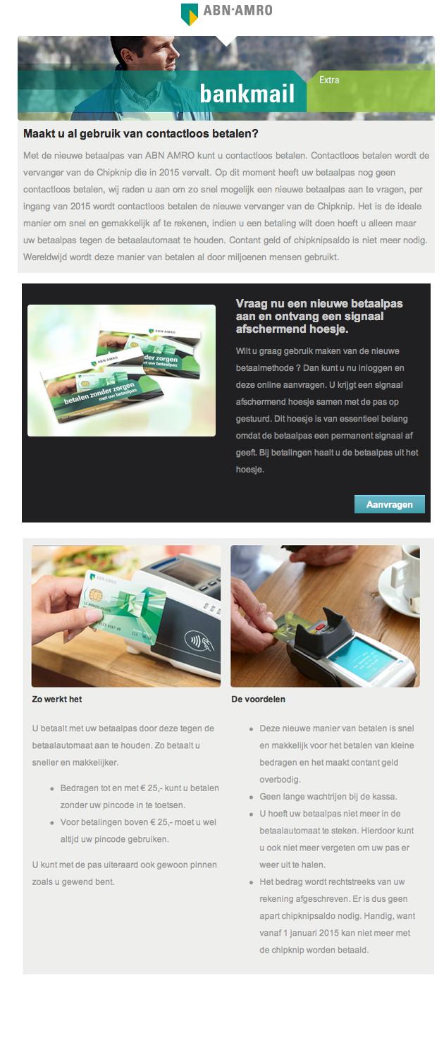 Valse e-mail ABN AMRO: 'Contactloze betaalpas vervangt Chipknip'