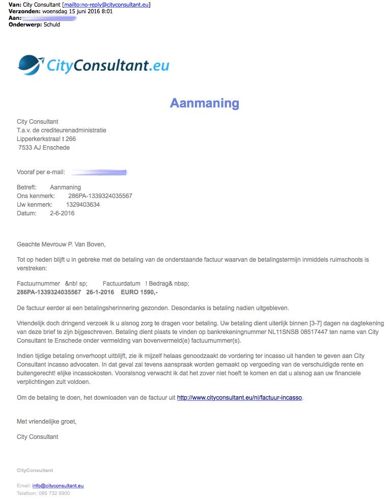 Valse e-mail 'City Consultant'
