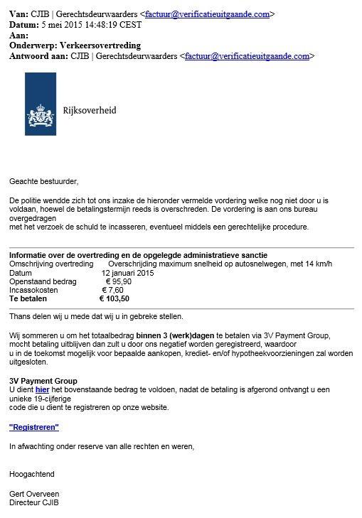 Mail CJIB verkeersovertreding is nep