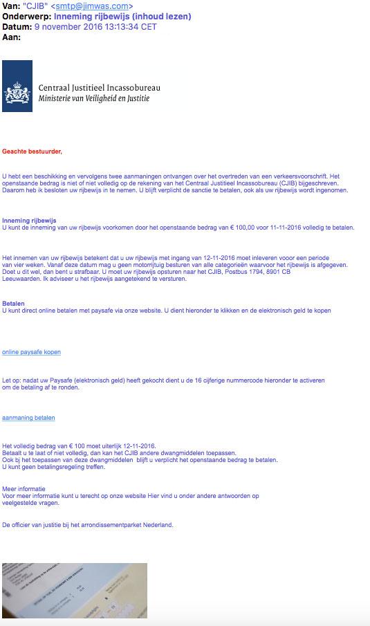 Valse e-mail 'CJIB' over intrekken rijbewijs