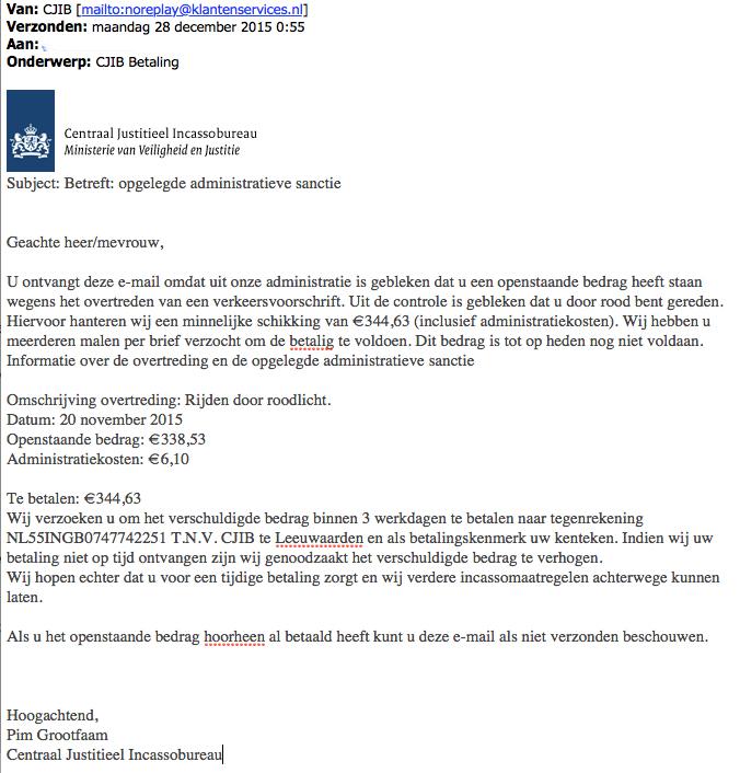 Politie waarschuwt voor nepmail CJIB