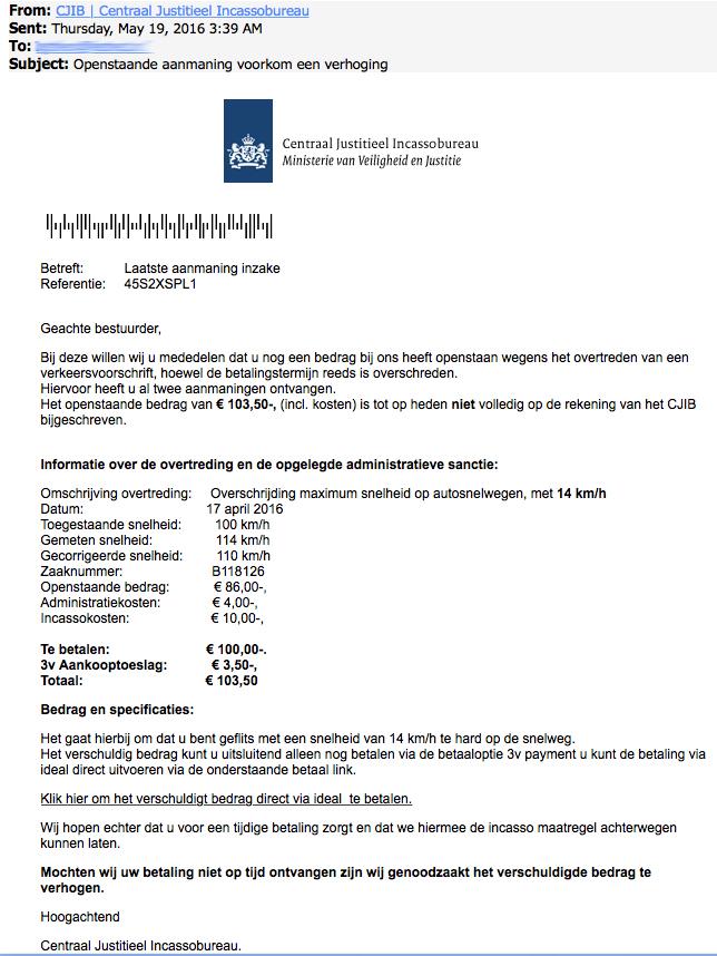 Valse e-mail uit naam van CJIB