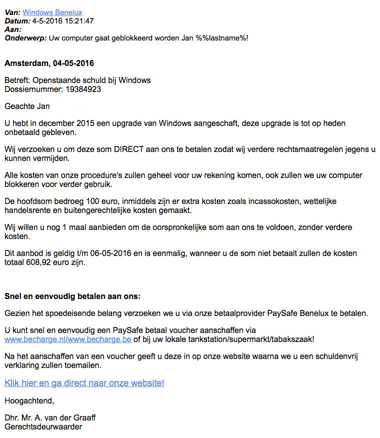Valse mail: 'openstaande schuld Windows'