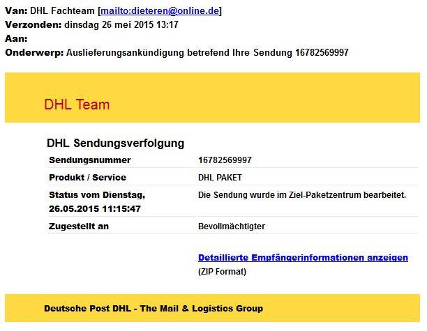 Valse mail DHL bevat mogelijk malware