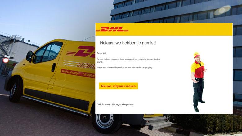 Valse e-mail 'DHL': 'Maak een afspraak voor een nieuwe bezorging'