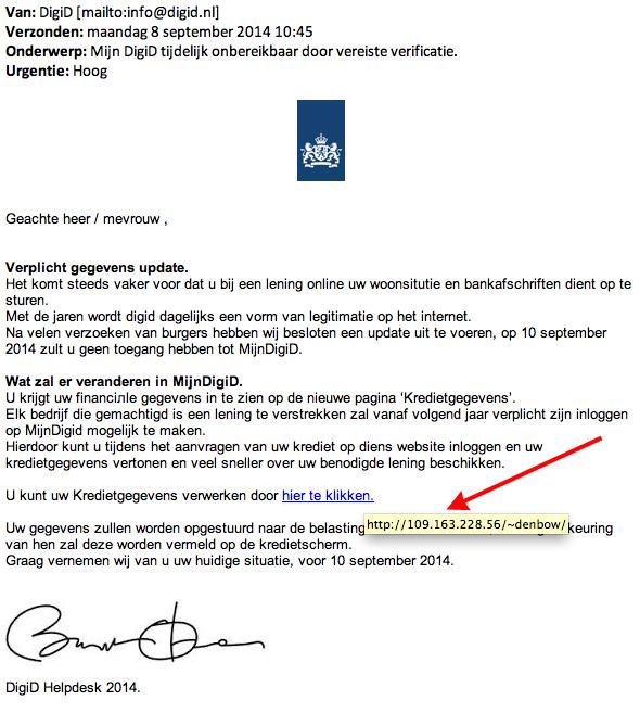 Valse e-mail: 'DigiD tijdelijk onbereikbaar door vereiste verificatie'