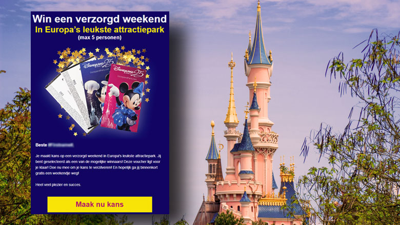 E-mail 'Disneyland' blijkt misleiding