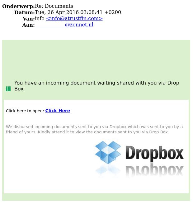 E-mail 'Dropbox' is phishing