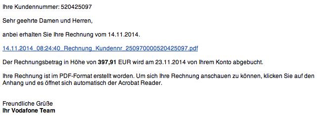 Pas op voor Duitstalige malware e-mails!