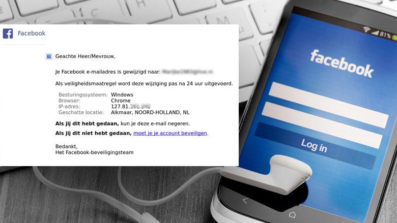 Phishingmail 'Facebook' over wijzigen e-mailadres in omloop