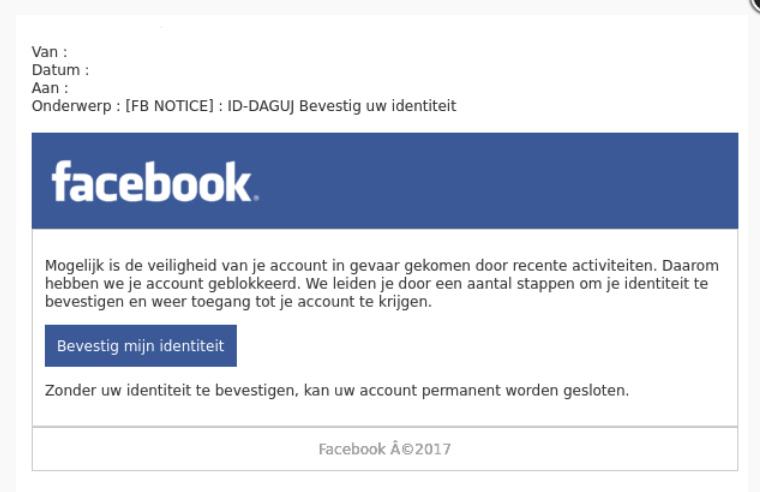 Pas op voor phishingmail 'Facebook'