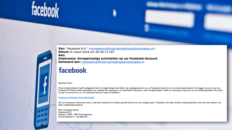 Pas op voor phishingmail 'Facebook' over geblokkeerd account