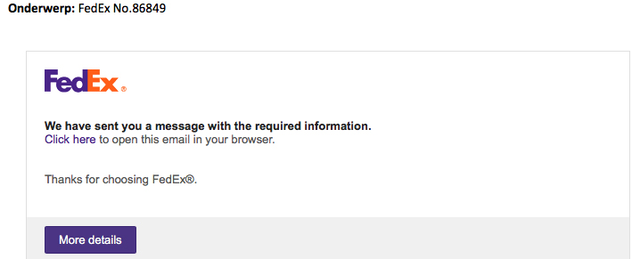 Valse e-mail 'FedEx' over je gegevens