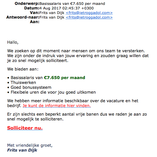 Veel meldingen over 'vacature' Frits van Dijk