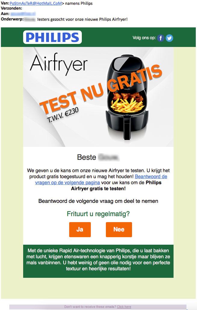 'Testers gezocht voor airfryer' is misleidende actie