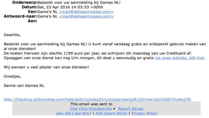 Valse e-mail: 'aanmelding bij Games NL'
