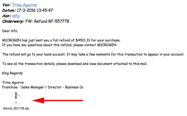 Let op: vreemde mailtjes met malware