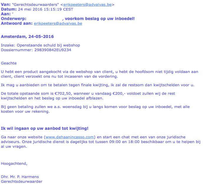 Opnieuw e-mail 'gerechtsdeurwaarders' in omloop
