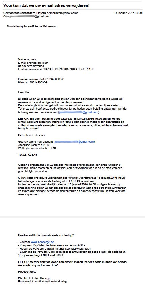 Pas op voor nepvordering 'Gmail'