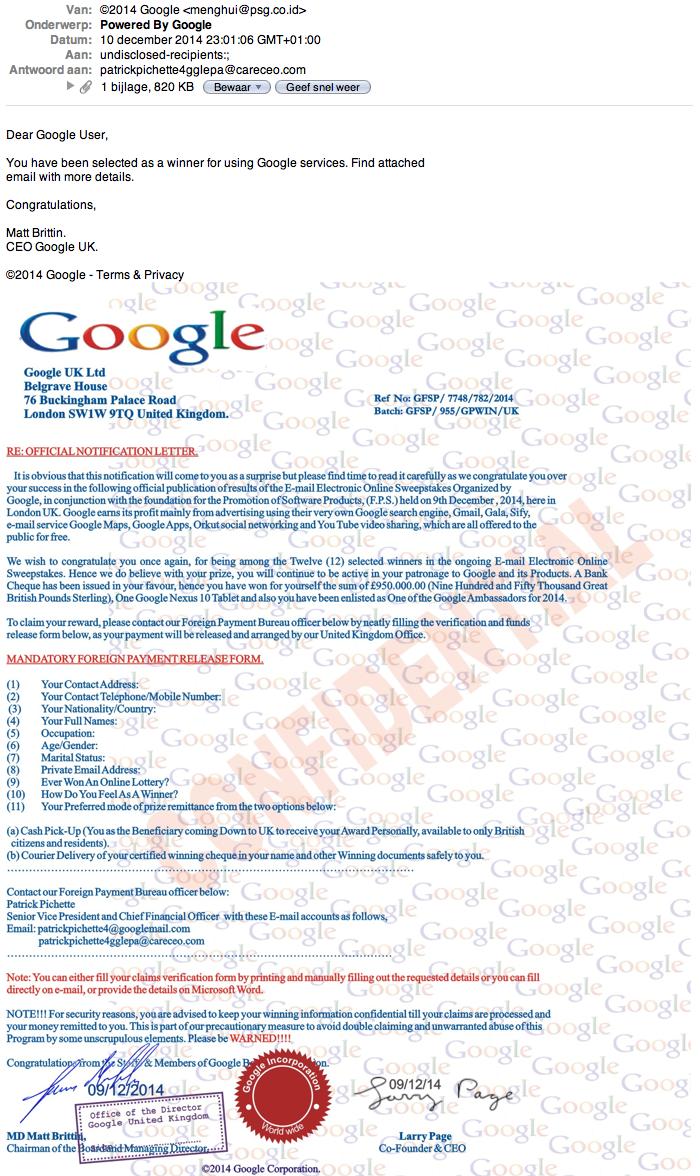 Reageer niet op e-mail geldprijs Google!