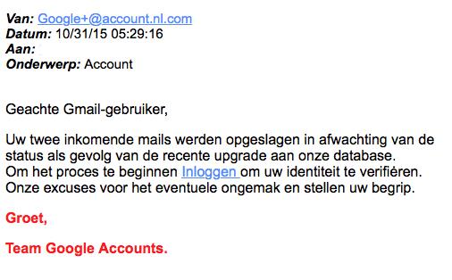 Valse mail 'Google' over upgrade account