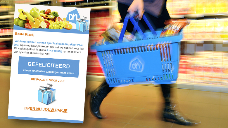 Trap niet in valse winactie van 'Albert Heijn' over een 'speciaal cadeaupakket'