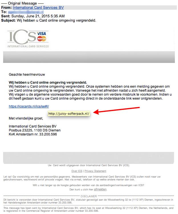 Valse e-mail ICS: 'online omgeving vergrendeld'.