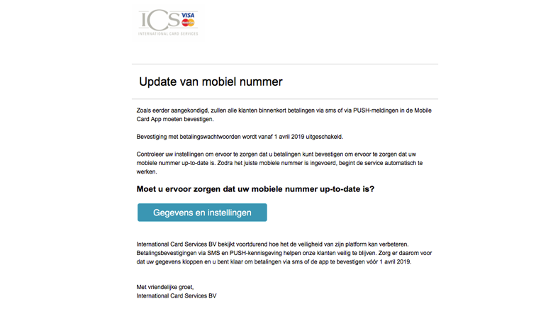 'ICS' e-mail over 'update mobiel nummer' is nep!