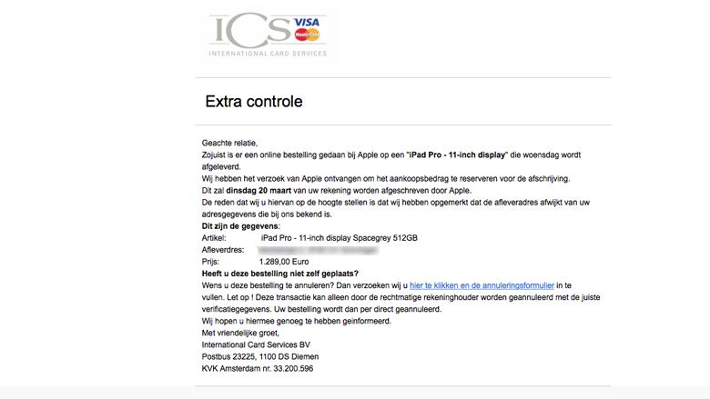 Alert! Pas op voor de zoveelste nepmails van 'ICS'