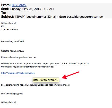 Phishingmail ICS: 'zijn deze goederen van u?'