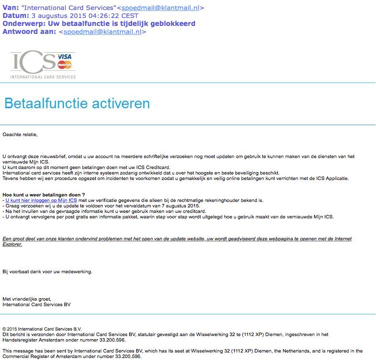Valse mail ICS: 'Betaalfunctie geblokkeerd'