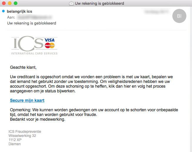 Pas op voor nepmail 'ICS' over geblokkeerde rekening