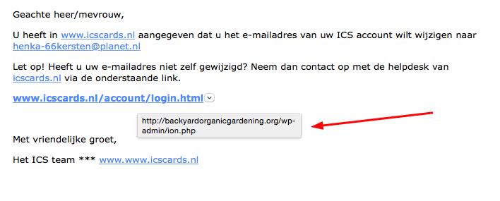 Phishing: 'wijziging e-mailadres ICS'