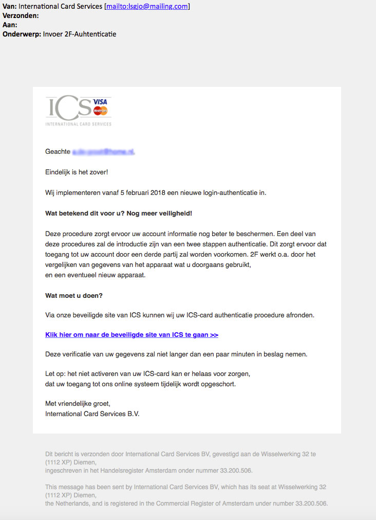 Phishingmail 'ICS': tweestapsverificatie