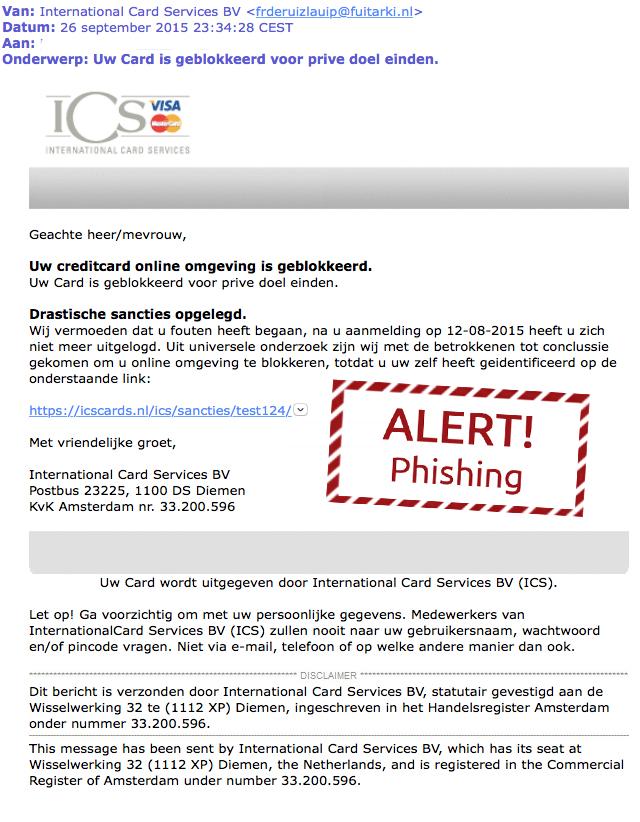 Valse mail ICS: 'Card geblokkeerd'