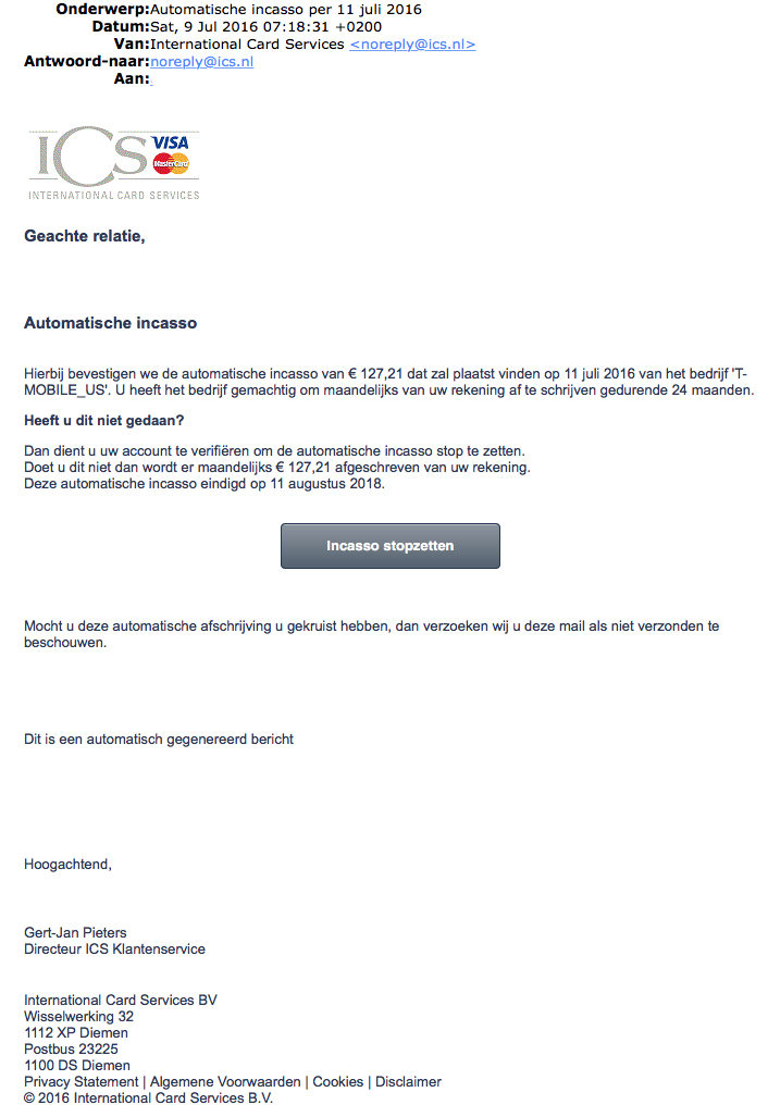 Valse e-mail ICS: 'Automatische incasso'