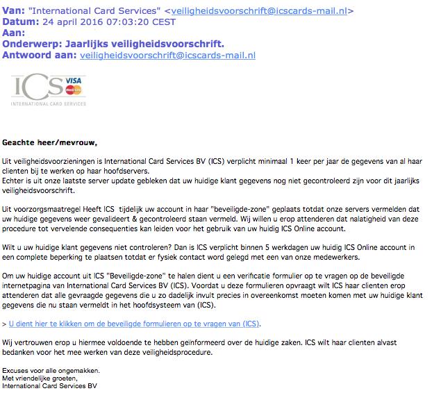 Veel phishingmails 'ICS' in omloop