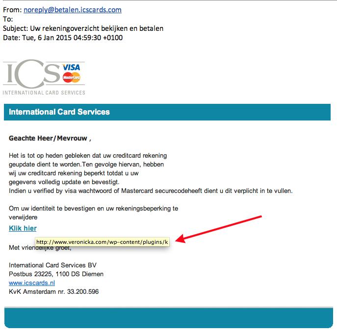 Valse mail ICS: 'verwijderen rekeningsbeperking'