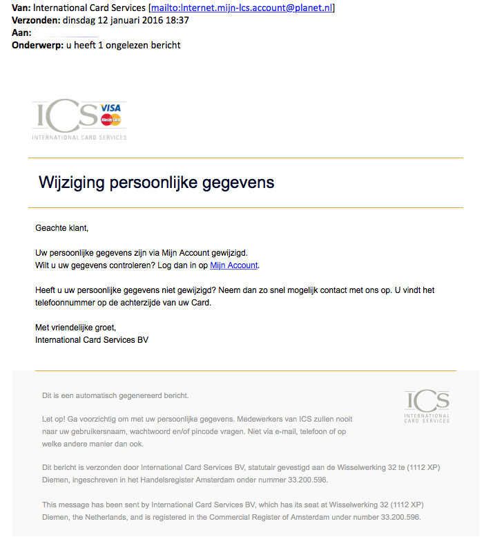 Valse mail 'ICS' over wijziging gegevens