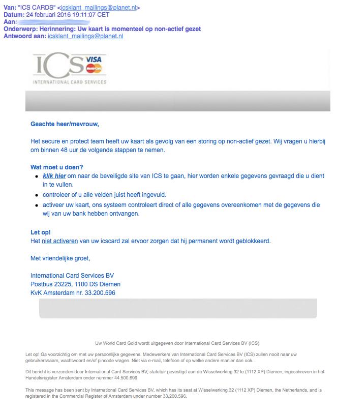 Nepmail 'ICS': kaart op non-actief
