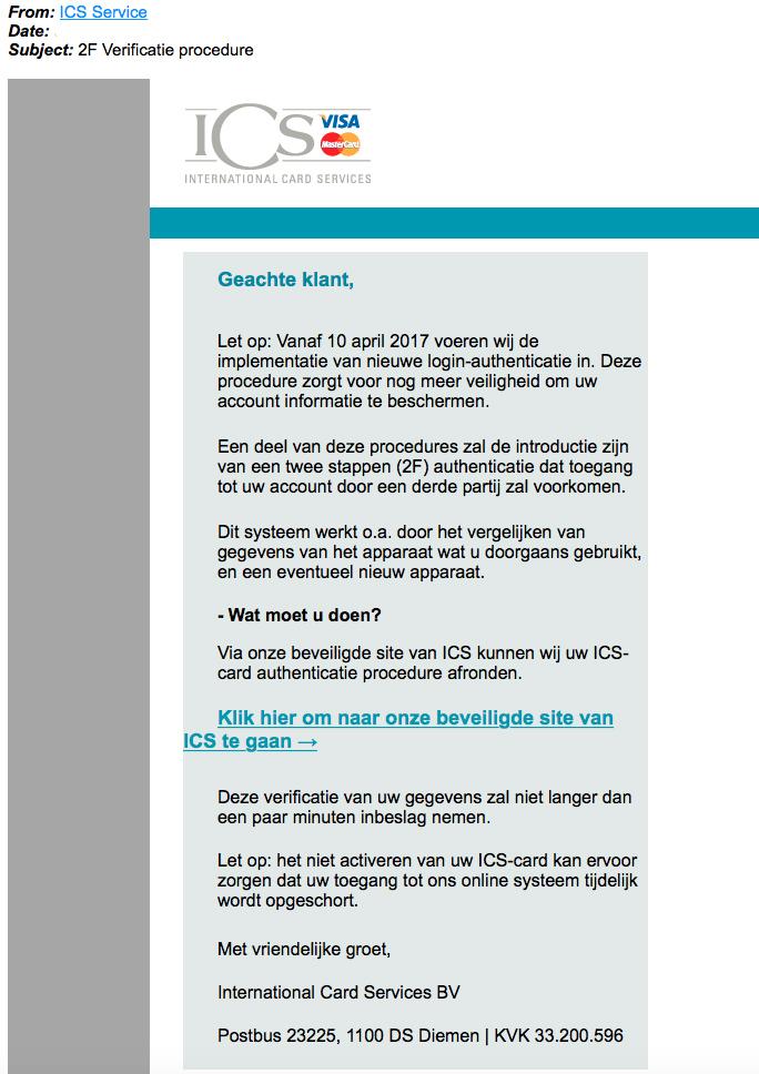 Pas op voor valse e-mail 'ICS' over nieuwe authenticatieprocedure
